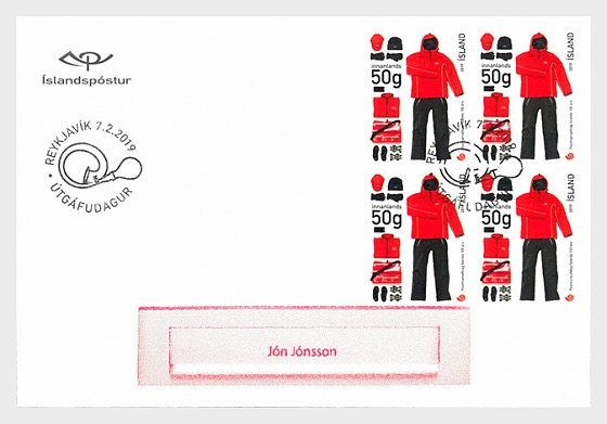 The Icelandic Postal Workers Union - 100th Anniversary - FDC Block of 4 - First Day Cover block of 4