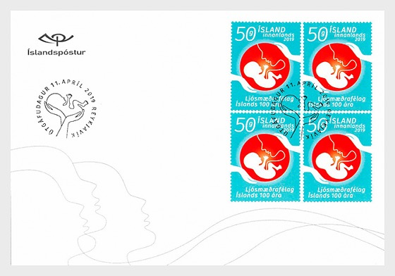 The Icelandic Midwives Association - 100th Anniversary - FDC Block of 4 - First Day Cover block of 4