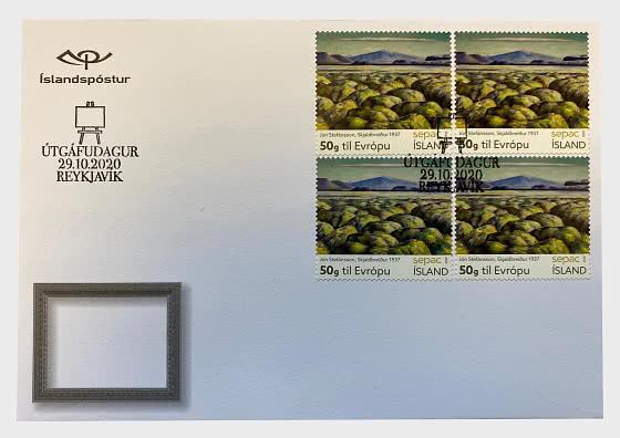 SEPAC 2020 – Artwork  from the National Gallery of Iceland - Jón Stefánsson – Skjaldbreiður 1937 - Sobre bloques de 4