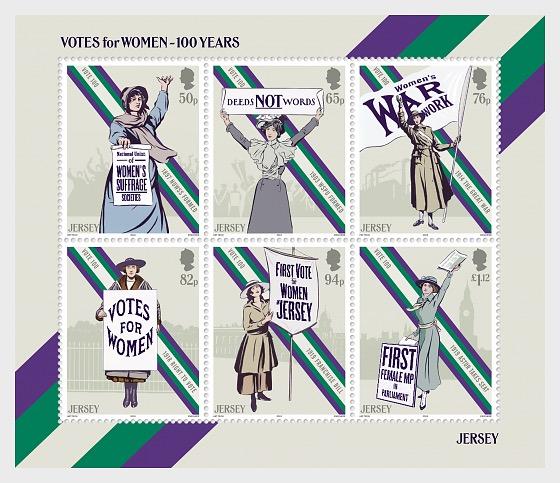 Votos para mujeres - 100 años - Hojas Bloque