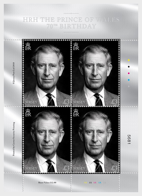 HRH The Prince of Wales 70th Birthday - £3 DEFINITIVE Sheetlet - Sheetlets