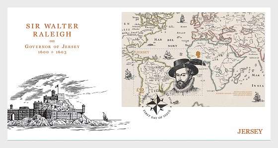 Sir Walter Raleigh, Governor of Jersey 1600-1603 - FDC M/S - First Day Cover