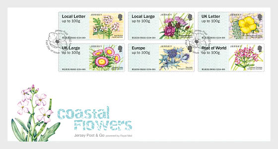 Post & Go - Jersey Coastal Flowers - First Day Cover