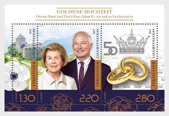 Golden Wedding of Prince Hans-Adam II and Princess Marie of Liechtenstein - Miniature Sheet