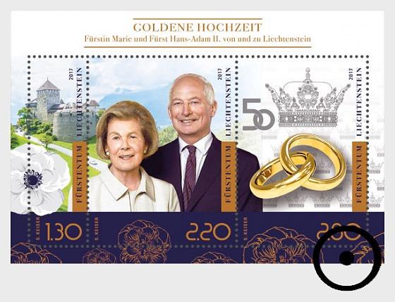 Golden Wedding of Prince Hans-Adam II and Princess Marie of Liechtenstein - Miniature Sheet CTO