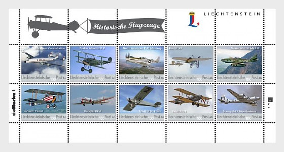 Historical Aeroplanes - 8th Official Collection Sheet - Sheetlets