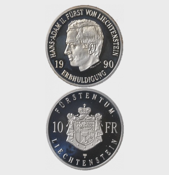 Erbhuldigung Hans-Adam II. (1990) - Silbermünze