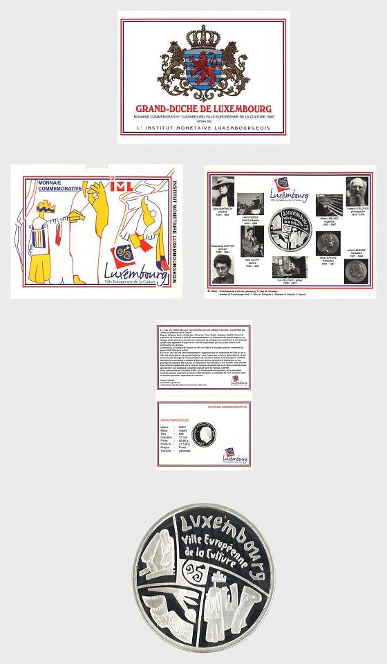 Luxembourg - 500 LUF Gedenkmunze Kulturstadt (1995) - Coin Card