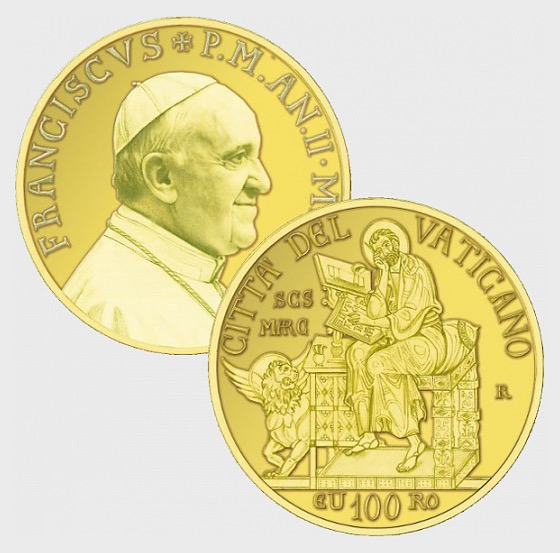 Vatican - 100 Euro Gold Commemorative Coin - The Evangelists, Saint Mark (2014) - Gold Coin