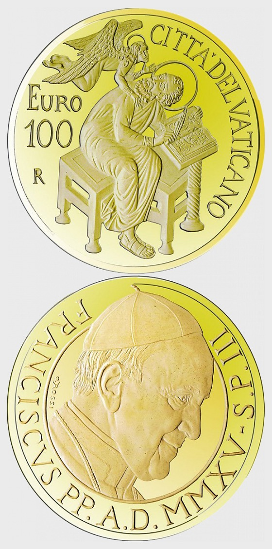Vatican - 100 Euro Gold Coin - The Evangelists, Saint Matthew (2015) - Gold Coin