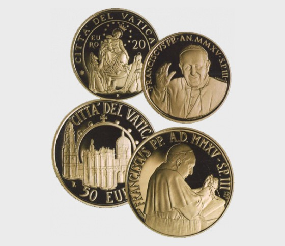 Vatican - 20 + 50 Euro Gold Commemorative Coins - Pontifical Shrine of Our Lady of the Rosary of Pompei (2015) - Gold Coin
