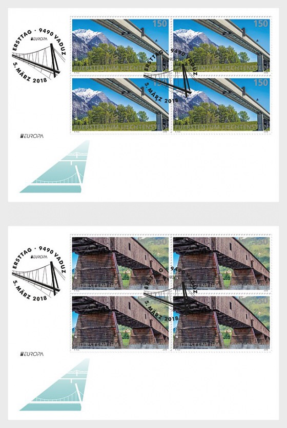 Europa 2018 - Bridges - (FDC Block of 4) - First Day Cover block of 4
