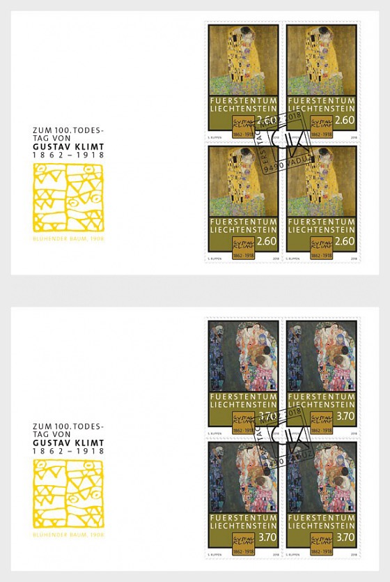 100th Anniversary of the Death of Gustav Klimt - (FDC Block of 4) - First Day Cover block of 4