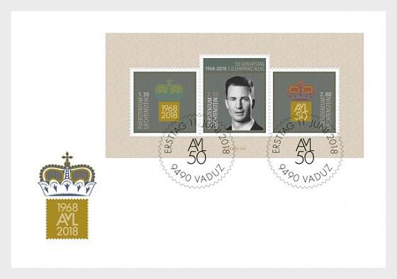 50th Birthday of H.S.H. Hereditary Prince Alois von und zu Liechtenstein - First Day Cover