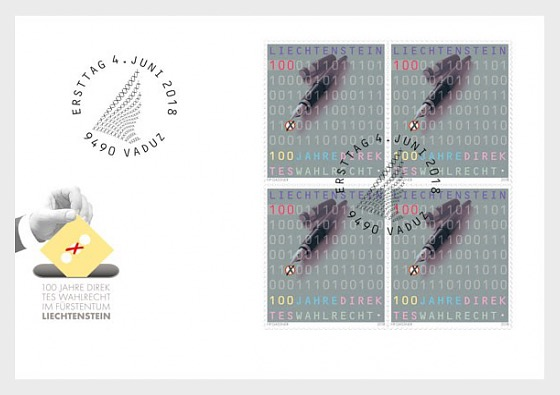 100 Years of Direct Suffrage - (FDC Block of 4) - First Day Cover block of 4