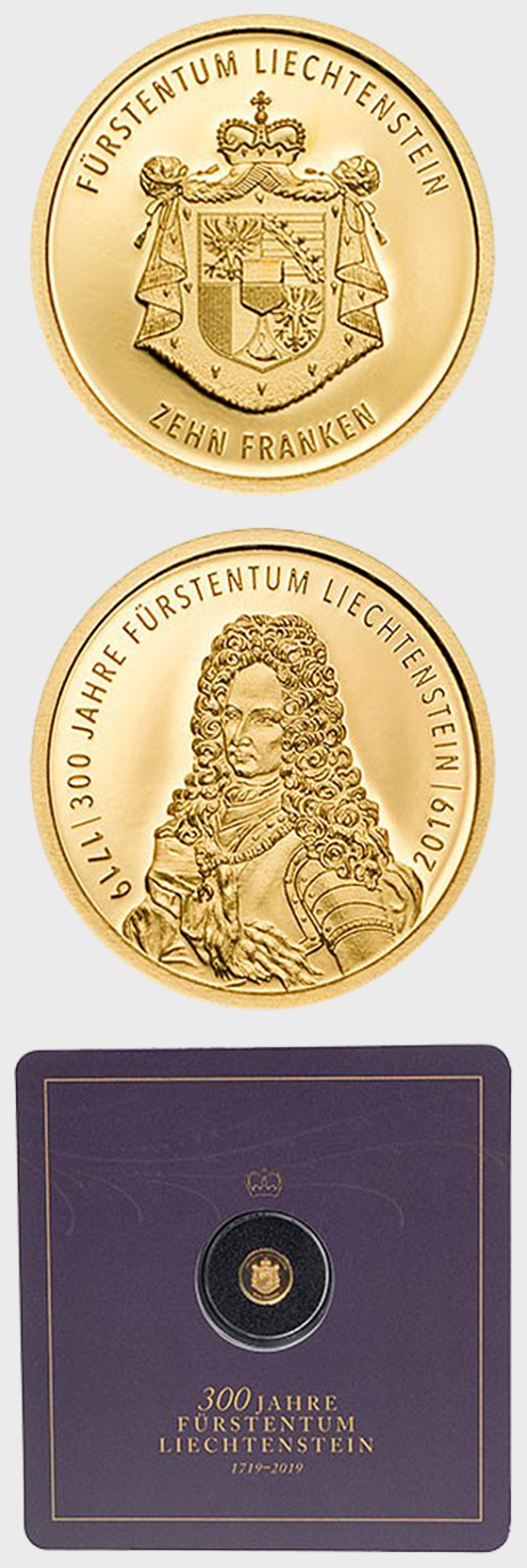 300 Years of Liechtenstein 2019 - CHF10 Gold Coin - Gold Coin