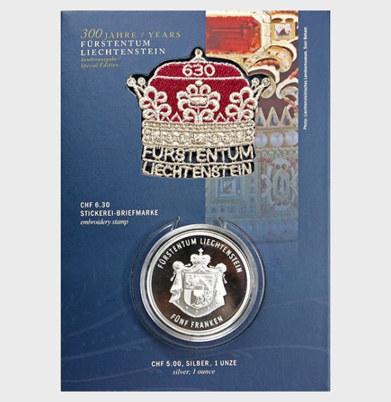 300 Years of Liechtenstein 2019 - CHF5 Silver Coin with CHF6.30 Princely Hat stamp - Coin Card