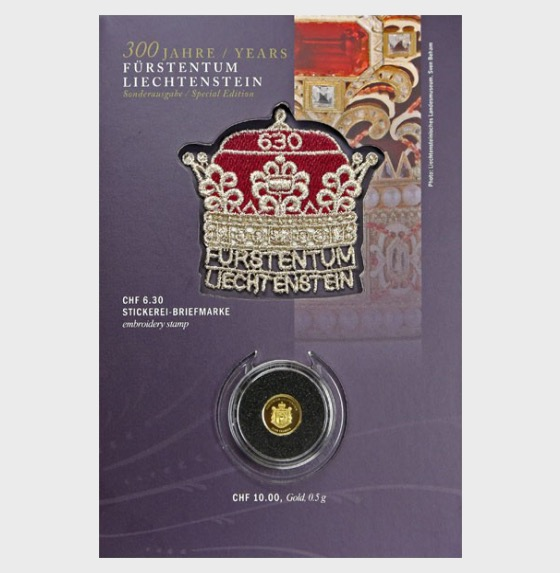 300 Years of Liechtenstein 2019 - CHF10 Gold Coin with CHF6.30 Princely Hat stamp - Coin Card