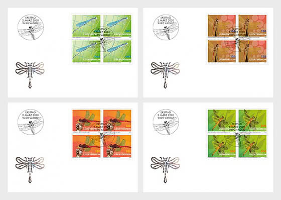 Dragonflies - II - FDC Block of 4 - First Day Cover block of 4