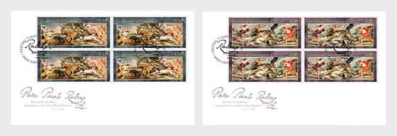 Princely Treasures – Hunting Scenes of Rubens - FDC Block of 4 - First Day Cover block of 4