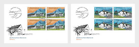 Village Views - Balzers - FDC Block of 4 - First Day Cover block of 4