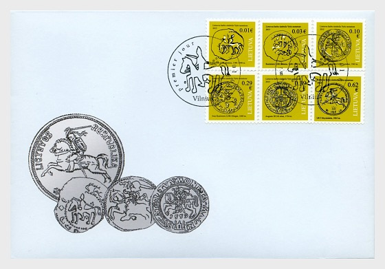 Coins of Vytis - The Symbol from the Emblem of the Lithuania State - First Day Cover