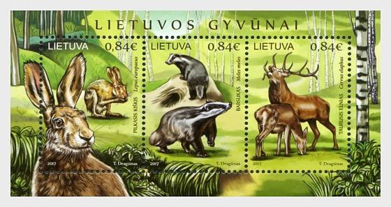 Animaux Lituaniens - Cerf Royal, Lièvre Gris et Blaireau - Blocs feuillets