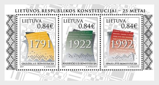 25ème Anniversaire de la Constitution de la République Lituanienne - Blocs feuillets