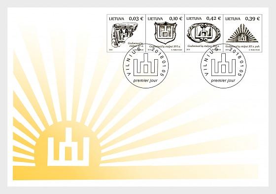 Símbolos del Estado de Lituania - Columnas de Gediminaiciai - Sobre de Primer Dia
