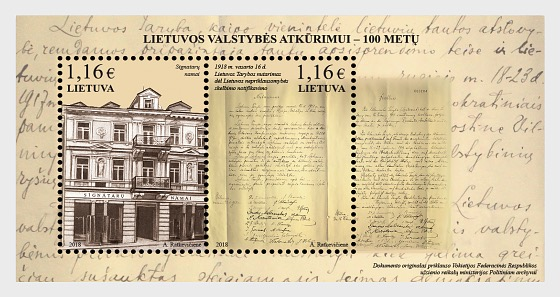 100th Anniversary of Restoration of Lithuanian State - Miniature Sheet