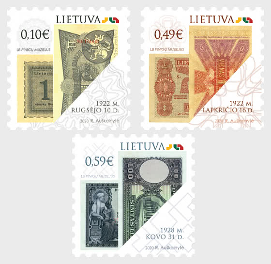 Symbols of Lithuania State - Historic Paper Banknotes - Set