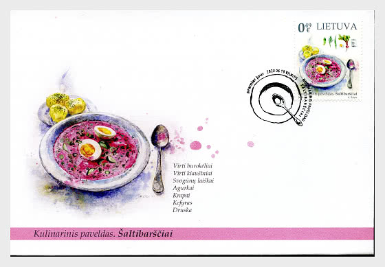 Gastronomic Heritage - Cold Pink Lithuanian Soup - First Day Cover