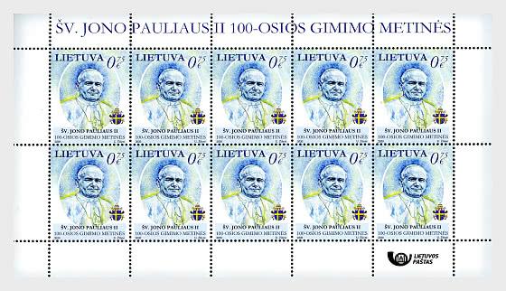 100e Anniversaire de la Naissance de Saint Jean-Paul II - Mini-feuilles
