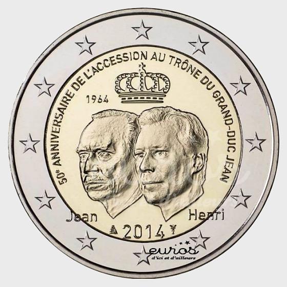 Münze 2€ 2014 - 50 Jahrestag der Thronbesteigung von Großherzog Jean - Einzelne Münze