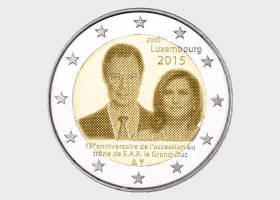 2 euro 2015 15 years throne G.D. Henri - Single Coin