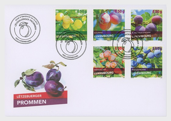 Plum Varieties in Luxembourg - First Day Cover