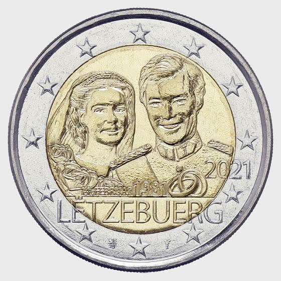 2 Euro - 40 Years Marriage of Grand Duke Henri (Relief) - Single Coin