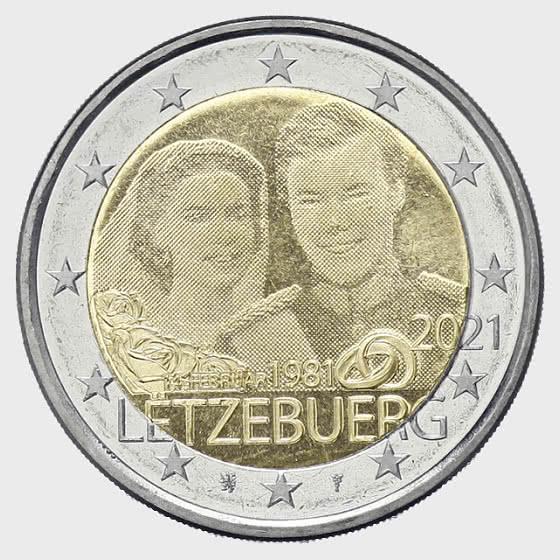 2 Euro - 40 Years Marriage of Grand Duke Henri (Photo) - Single Coin