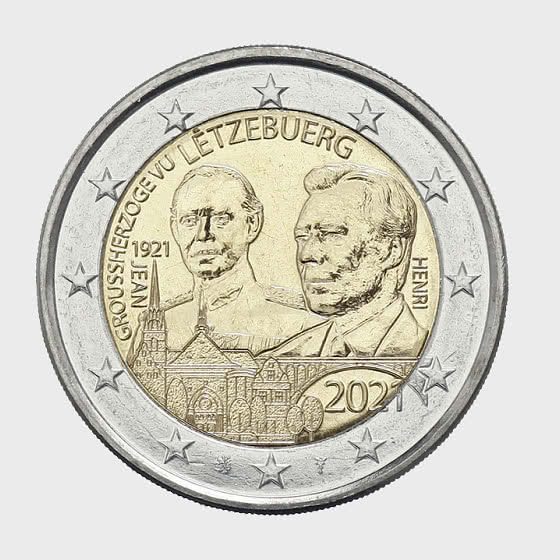 2 Euro - 100 Years of Grand Duke Jean (Relief) - Single Coin