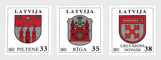 2012年纹章 - 皮尔泰内、里加和Lielvardes - 套票