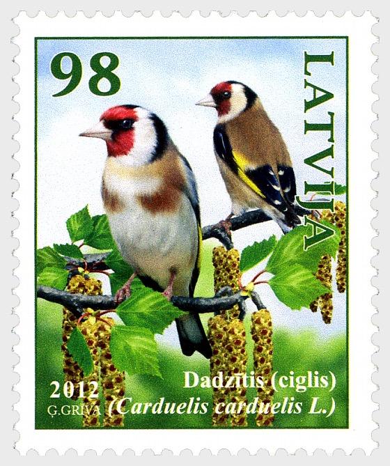 2012年拉脱维亚的鸟 - 金翅雀 - 套票