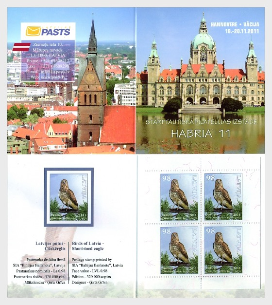 EXPO Booklet - Birds of Latvia - Short - Toed Eagle 2011 - Stamp Booklet