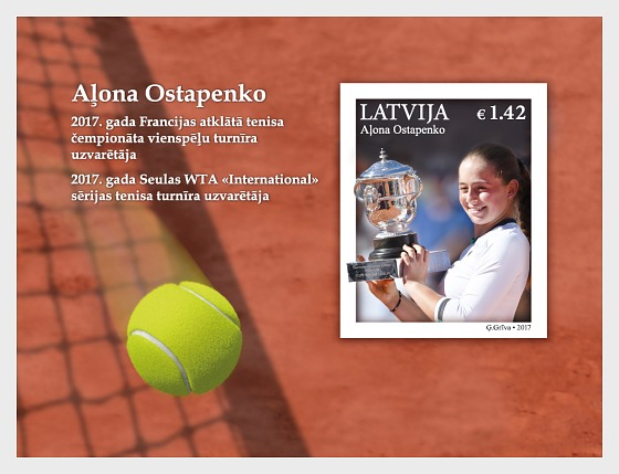 French Open Champion - A.Ostapenko - Miniature Sheet
