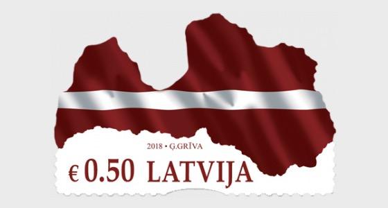 拉脱维亚的旗帜/地图 - 套票