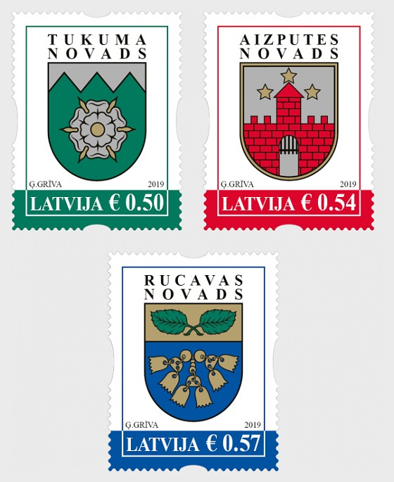 Coats of Arms of Cities & Regions of Latvia 2019 - Set