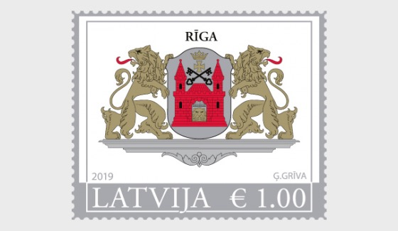 Big Coat of Arms of Riga & Latvia Republic (Re-Print) - Riga Stamp - Set