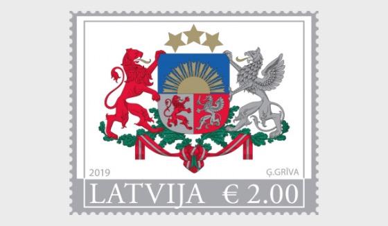 Big Coat of Arms of Riga & Latvia Republic (Re-Print) - Latvia Republic Stamp - Set