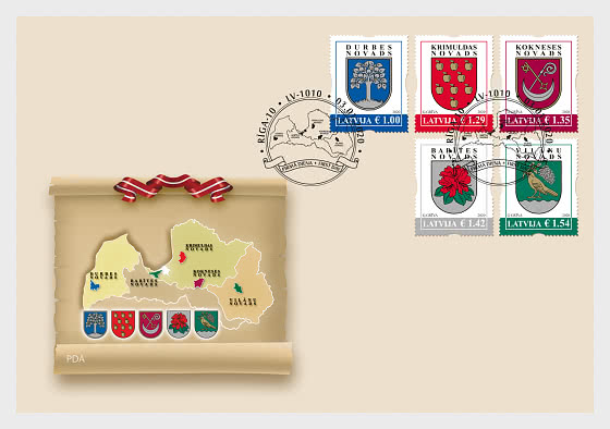 Coats of Arms of Cities & Regions of Latvia 2020 - First Day Cover