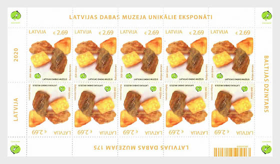 拉脱维亚自然历史博物馆的独特展览-琥珀 - 小版张