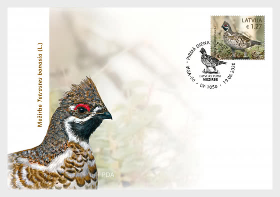 Birds - Hazel Grouse - First Day Cover single stamp